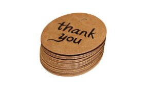 KRAFT ROUND TAGS D40mm THANK YOU SET/50pcs